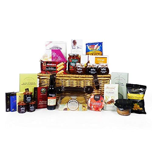 'Best Wishes' Gourmet Food Hamper in a Traditional Wicker Basket (includes 25 food items) - Gift idea for Dad, Mum, Mothers Day, Birthday, Christmas, Business, Corporate, Grandma, Grandad