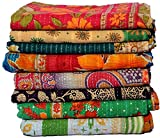 Wholesale Lot of Indian Vintage Kantha Quilt Handmade Throw Reversible Blanket Bedspread Cotton Fabric Bohemian Quilt (4)