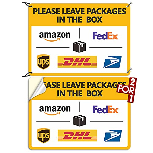 Package Delivery Sign Delivery Instructions Sign 2 Pack Leave Packages in The Box Sign ,Two For One : 1 Pcs Super Tough PVC+1 Pcs Self Adhesive Vinyl , Rust-Free, Weather-Proof