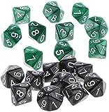 LHY Juego de 20 juguetes Polyhedral D10 Dice Set Ten Sided Die for El Partido de MTG Juego de rol juguete – Verde y Negro Moda