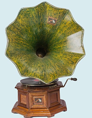 Antiques World Antique Machine Vintage Green Horn Hmv 90's Gramaphone Old Music Box Phonograph AWUSAHB 09