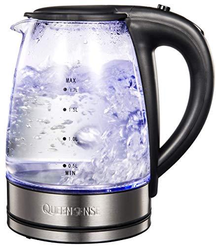 QUEENSENSE Wasserkocher Glas Elektrische Wasserkessel, 1,7L Teekocher mit blaue LED Beleuchtung, 2200W Fast Heating Wasserkocher mit automatische Abschaltung berschtztung
