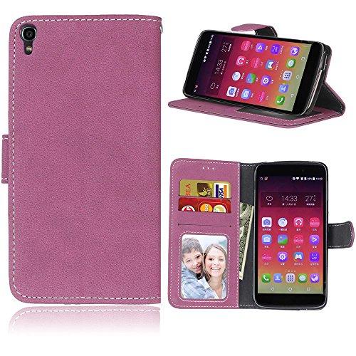 FUBAODA One Touch Idol 3 Hülle,[Hautfre&lich][Wildleder] Flip Leder Money Brieftasche,Ständer,Handyhülle Phone Tasche Hülle für Alcatel One Touch Idol 3(5.5inch)(Rosen-Rot)