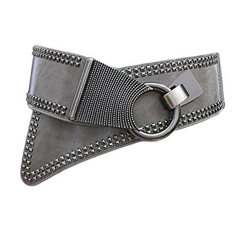 Diyafas Mujeres Punk Remache Cinturón Elástico Cinturones Damas Pretina Vestido Decoración (Ropa)