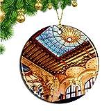 Hqiyaols Ornament España Cataluña Sala de Conciertos Barcelona Navidad Adornos Colgantes Pieza Cerámica Recuerdo Ciudad Viaje Regalo