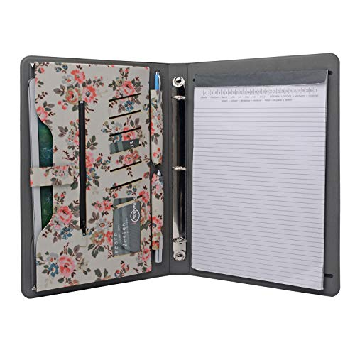 iCarryAlls Floral Pattern Folio Case, 3-Ring Binder Portfolio with 3/4 inch Round Ring,Holds 8.5 x 11-inch Papers,Blue