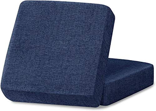 Mazu Homee Funda de cojín de lino para sofá, funda protectora de sofá (con velcro inferior), suave, antideslizante, no se arruga, no pegajosa, adecuada para asientos de banco (azul marino, 2 piezas)