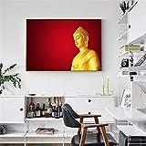 KWzEQ La Estatua Dorada de Buda está Impresa en el Lienzo en la Pared de la Sala de Estar para Carteles de Arte y Grabados para decoración60X90cmPintura sin Marco
