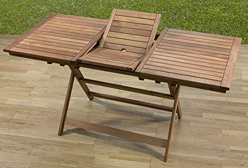 PiuShopping - Mesa extensible plegable de madera para exterior de jardín - 120/160 x 70 x 73 (altura) cm
