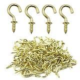 Biaungdo 100 Pcs 1/2' Ceiling Cups Hooks Screw Hooks Ceiling Cup Hooks Self-Tapping Screws Hooks Gold