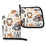 Big Beer In The Forest Heat Resistant Oven Mitts Soft Cotton Lining With Non-Slip Surface For Safe Bbq Cooking Baking Grilling In Family Or Restaurant Oven Mitt 11'' X 6.2'' and Pot Holder 8'' X 8''