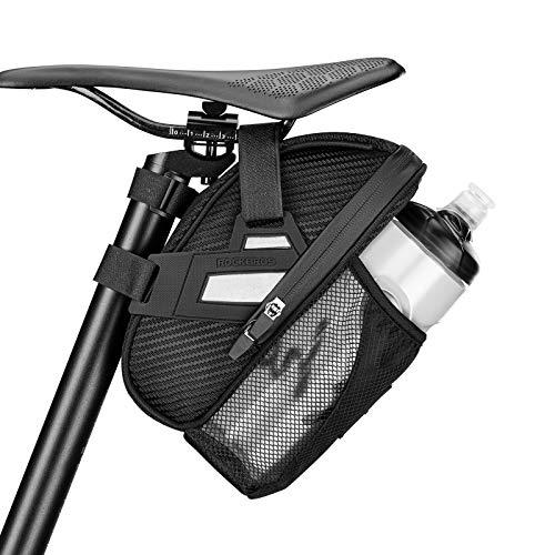 ROCKBROS Bolsa bajo Sillín de Bicicleta Alforja Asiento para Bidón Multifunción para MTB Bici Carretera Plegable, Negro
