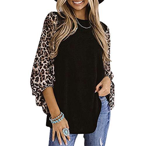 OrientalPort Langarmshirt Damen Leopard Patchwork Bluse Shirts Lose Laterne Langarm Tunika Oberteile (A# Schwarz, XL)