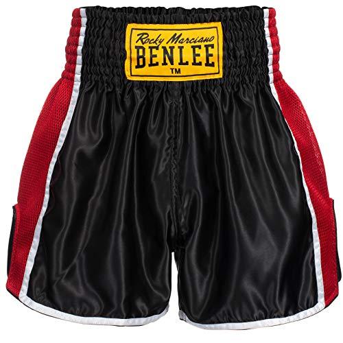 BENLEE Rocky Marciano Thai Shorts Herren Schwarz Boxen Kampfsport, Größenauswahl:XS
