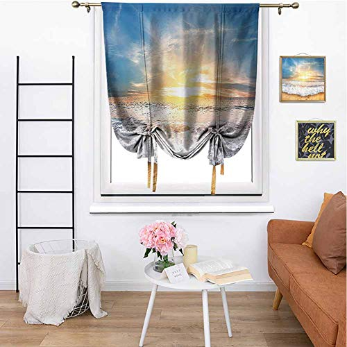 Ocean Decor Collection Bedroom Curtain Idyllic Scene of a Sunset with Zippy Waves Moving on to Sand at a Beach Picture Print Room Darkening Home Decorative for Bedroom 42'x72' Blue Beige Yellow White
