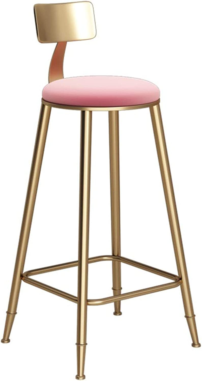 Round golden Barstool Steel Breakfast Dining Stool for Kitchen Bar Counter Home Commercial Chair LOFT High Stool with Backrest and Pink Velvet Cushion (Size   Height 78cm)
