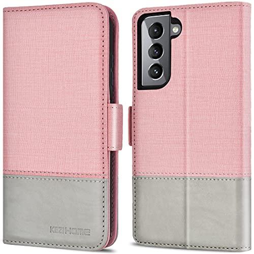 KEZiHOME Handyhülle Kompatibel mit Samsung Galaxy S21, Samsung S21 Hülle [RFID Schützt] [Standfunktion] [Kartenfach][Magnet] PU Leder Stoßfeste Schutzhülle für Galaxy S21 5G (6.2 Zoll) (Rosa/Grau)