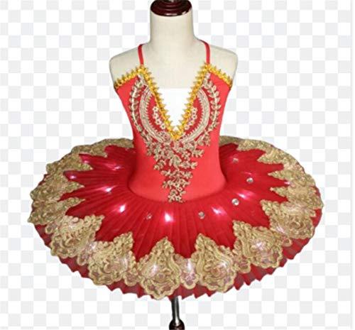 ZYLL Tutú de Ballet con luz LED Profesional, Disfraz de Lago de los cisnes, Vestido de Bailarina para niñas, Vestido de Ballet para niños, Trajes de Escenario de Baile,Rojo,160CM
