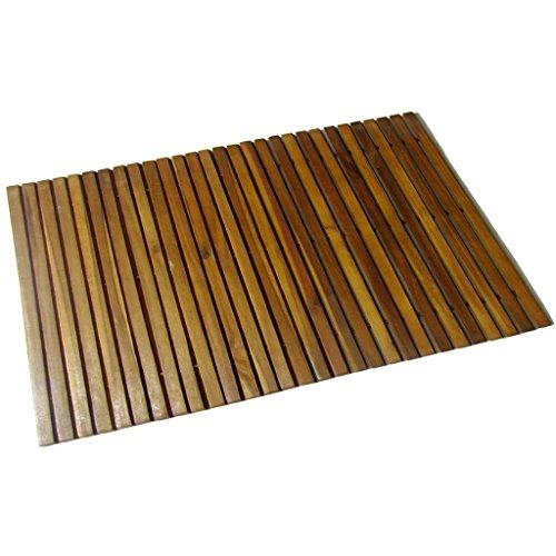 vidaXL Alfombra Cuarto Baño 80x50 cm Felpudo Madera de Acacia Tapete de Suelo