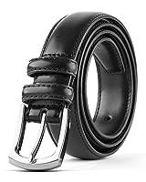 Men's Genuine Leather Dress Belt Classic Stitched Design 30mm 'ALL LEATHER' Black Size 40