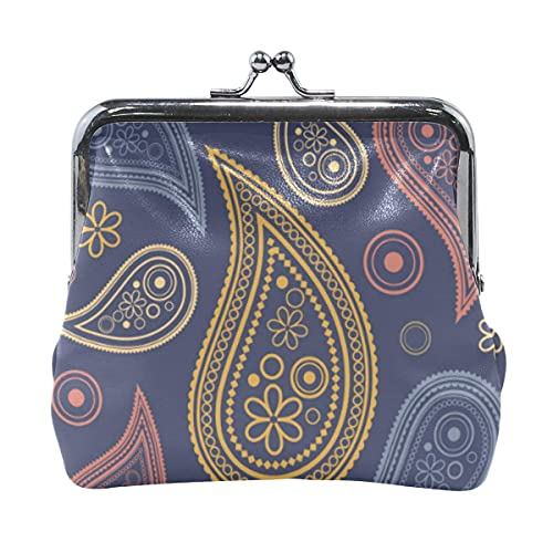 ANINILY Paisley Ornaments Leather Mini Coin Purse snap Closure Clutch Wallet for Women Girls