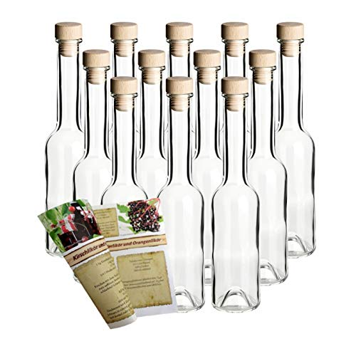 gouveo 12er Set Leere Glasflaschen Sinfonie 200 ml incl. Holzgriffkorken zum selbst Abfüllen Likörflasche Schnapsflasche, Öffnung 19mm