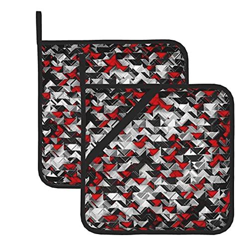 Juego de 2 soportes para ollas de cocina resistentes al calor y manoplas de horno, explosión geométrica negra y roja para cocinar a la parrilla, almohadillas de aislamiento de microondas