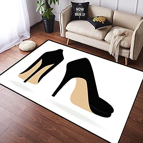 NANITHG Alfombra Salon Granpelo Corto Estilete Zapatos Tacón Alto Espalda Mujer Par Negro Glamour Femenino Atractivo Suave Antideslizante Alfombras Dormitorio Modernas Sala Habitación Infantil