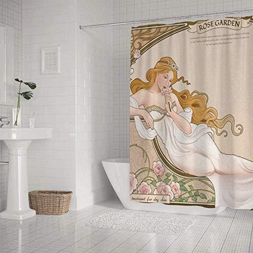 QAZX Badezimmer Duschvorhang Wasserdicht Elegant Mucha Art Nouveau Stil Göttin Myth Polyester Mehrfarbig 180x180cm