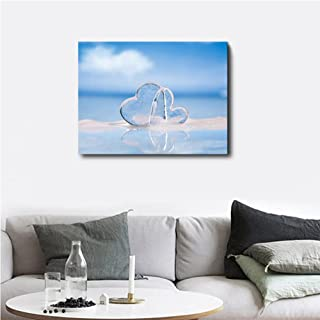 Plamc Canvas Calligraphy Painting Blue Sky Seaside Poster And Print Love Heart Wall Artwork For Living Room Bedroom Home D...
