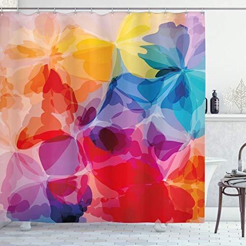 Ambesonne Floral Shower Curtain, Vibrant Colors Abstract Creative Watercolor Style Flower Pattern Design, Cloth Fabric Bathroom Decor Set with Hooks, 70' Long, Red Salmon