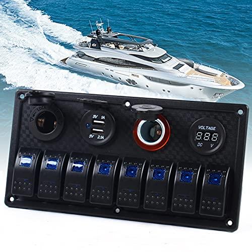 Panel de interruptores de 8 velocidades, resistente al agua, 12 V, para barco, cargador USB dual para coche, camión, yate, caravana