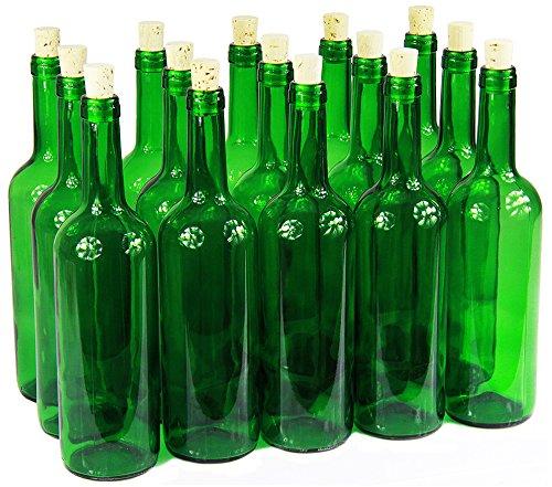 Bottiglia da vino, 750 ml, con/senza tappo di sughero, bottiglia vuota in vetro, per vino, liquore, 3colori, verde, 8 Stk. mit Korken