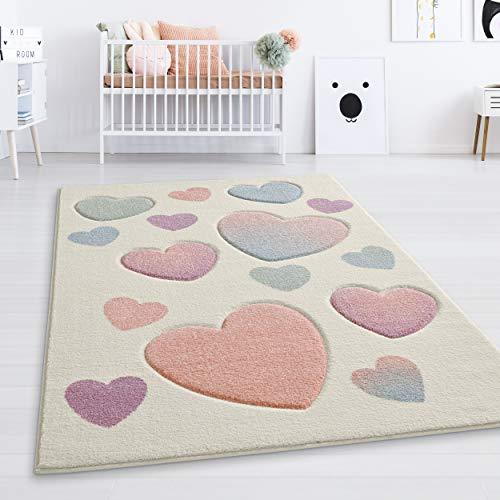 Taracarpet Kinderzimmerteppich für Mädchen süße Herzen Creme Multi bunt 080x150 cm