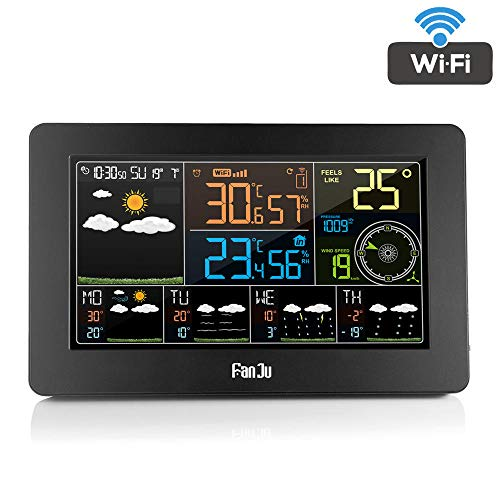 Kleur Wi-Fi-weerstation met APP-bediening/Smart Weather Monitor-klok met USB-laderpoort/Buitentemperatuur en -vochtigheid/Windsnelheid
