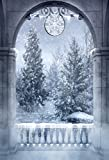 Leowefowa 5x7ft Christmas Night Backdrop Fantasy Winter Wonderland Photography Arch Door Stone Pillar Background Snowing Forest Backdrop Pine Trees Xmas Party Banner Kids Adults Photo Studio Props