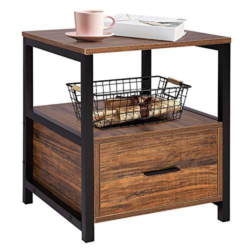 VECELO Nachttisch Nachtkommode mit Schublade Ablage Beistelltisch im Industrie-Design Sofatisch Nachtschrank45*45 * 56cm Groß und Modern Braun