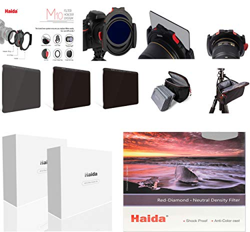 Serie Haida M10 Starter Kit Red Diamond ND 8X, 64x,1000x, Polfilter, Adapterringe 67-82 mm, sowie der neuen M10 Filtertasche