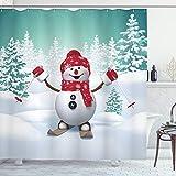 ABAKUHAUS Navidad Cortina de Baño, Esquí del muñeco de árboles, Material Resistente al Agua Durable Estampa Digital, 175 x 200 cm, Teal Rojo Blanco