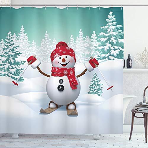 ABAKUHAUS Weihnachten Duschvorhang, Skifahren-Schneemann-Bäume, Bakterie Schimmel Resistent inkl. 12 Haken Waschbar Stielvoller Digitaldruck, 175 x 200 cm, Teal Rot-weiß