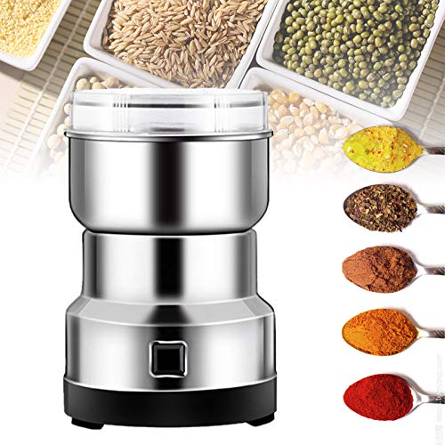 Multifunction Smash Machine Grinder Household Electric Grain Grinder Ultra Fine Dry Food Coffee Bean Grinder Seasonings Spices Mill Powder for Cereal/Spice/Herb/Cereal/Beans/Pet Food Silver