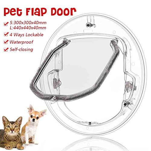 Cat Flap, Pet Door Dog Window Gate Round Clear Flap Door with 4 Ways Lock & Liner Kit for Cat Puppy Doggie Best Fits for Screen Window, Sliding Glass Door, Glass Window