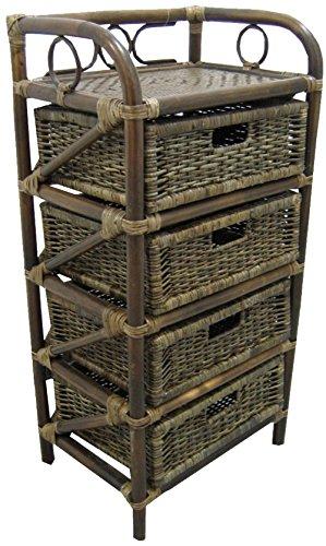 Mobile Cajonera noche Revistero madera bambú 4 cajones