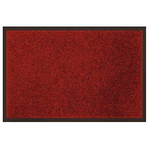 douceur d'intérieur tapis d'entree rectangle 40x60 cm anti-poussiere telio rouge