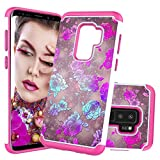 Heavy Duty Case for Samsung Galaxy S9 Plus with Pattern,QFFUN Cute Purple Flower Design Hard Plastic + Soft Silicone Hybrid Dual Layer Cover Shockproof Protective Case Bumper and Screen Protector