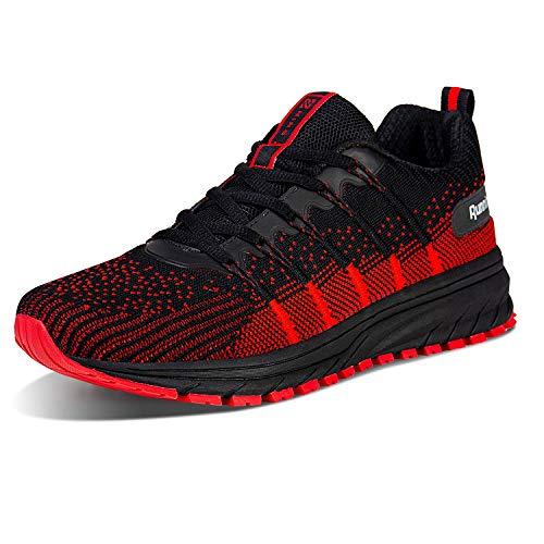 Straßenlaufschuhe Herren Damen Laufschuhe Fitness Turnschuhe Sneakers Air Sportschuhe Running Shoes(03-Schwarz/Rot,43)