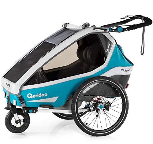Qeridoo Kidgoo2 Sport 2020 Fahrradanhänger für zwei Kinder, Farbe:petrol