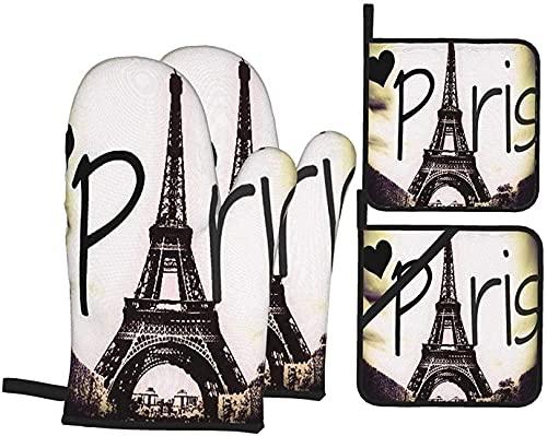 Juego de guantes y portavasos de Torre Eiffel Love Paris, resistentes al calor, guantes antideslizantes para horno de cocina y horno para asar a la parrilla, horno y microondas