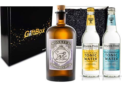 Gin Tonic Set Giftbox Geschenkset - Monkey 47 Schwarzwald Dry Gin 0,5l (47% Vol) + 2x Fever Tree Tonic Water Mix je 500ml -[Enthält Sulfite] - Inkl. Pfand MEHRWEG