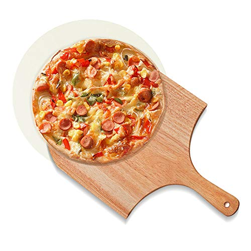 TOFAR Pizza Stone, Round Pizza Baking Stone for Oven, Free Wooden Pizza Peel Paddle, Thermal Shock Resistant Cordierite Cooking Stone for Baking Crisp Crust Pizza, Bread, Cookies (10 inch)